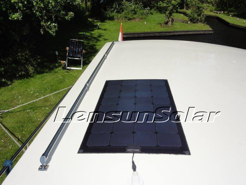 Lensun Solar 100w Black Flexible Panel Install On Boat1 2 Wiring