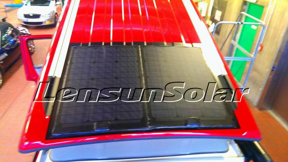 lensun-50w-black-flexible solar-panel install-on-Red-VW-T5(4)