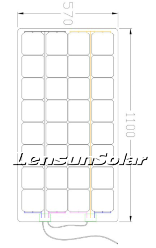 Lensun customzing flexible solar panel four bypass diodes in two junction boxes