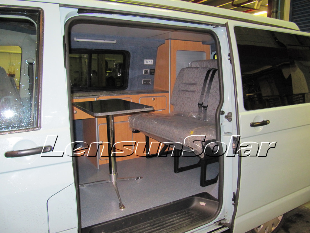 inside camping VW-T5 review for Lensun 80W flexible solar panels