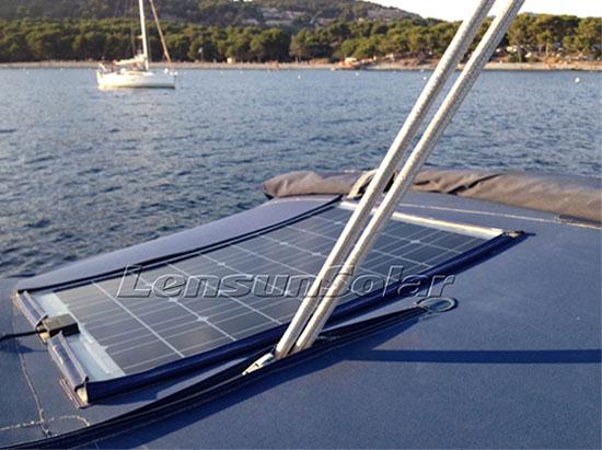 Mounted flexible solar panels by Velcro 100W Lensun Solar feedback from customers