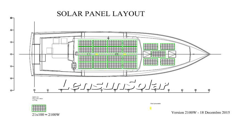 sailboat design for installing 21 x lensun 100w flexible solar panels