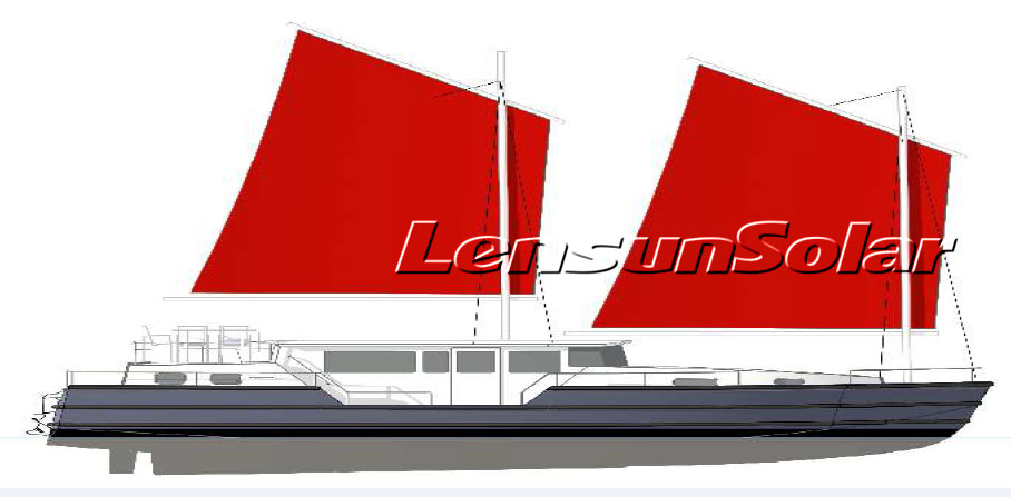 Sailboat design for installing Lensun 100W flexible solar panels