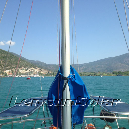lensun-2pcs 100W black flexible solar panel install on boat1