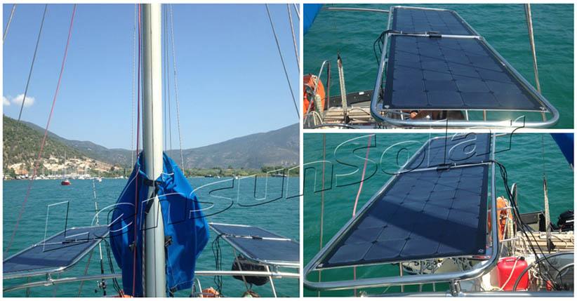 Lensun 100W 12v black flexible solar panels solar power kit on yacht boat