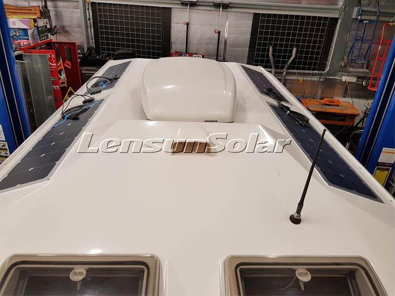 Lensun-Four-50W-total-200w-sunpower-solar-cells-back-contact-flexible-solar-panels-customizing-speical-solar-panle-for-Kimberley-Karavan-off-road-caravan-best-camping