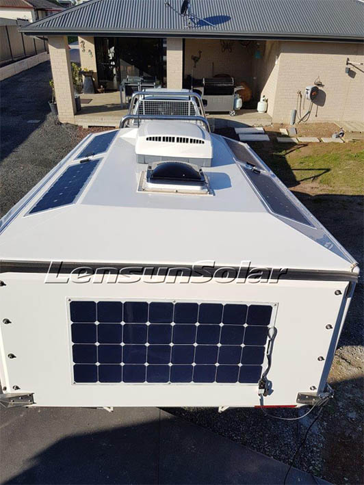 Lensun-customized-special-flexible-solar-panle-for-off-road-caravan-Kimberley-Karavan-installed-on-the-roof-by-silical-gel-and-screws-to fix-off-road-trailer