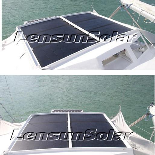 lensun-6pcs 100w-black-flexible-solar panel-install-on yacht
