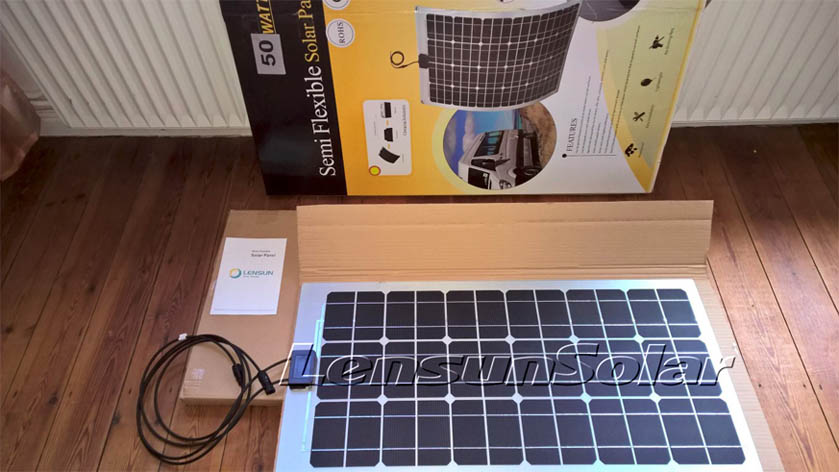 Lensun-50W-Flexible-solar-panel-power-system-VW T4-camping-van-motorhome-caravan