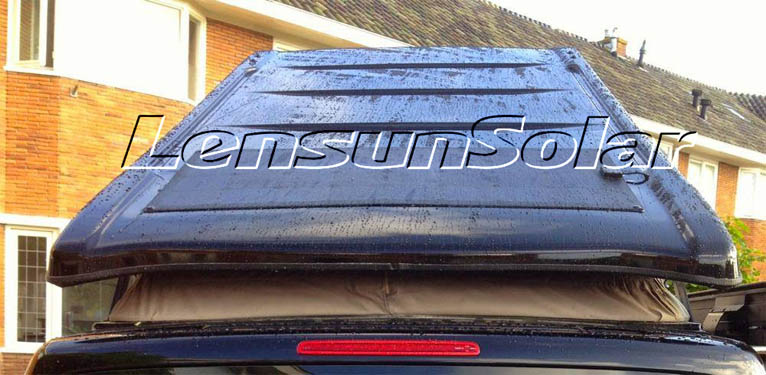 lensun-100w-black flexible solar panel install on Black VW T5 (3)