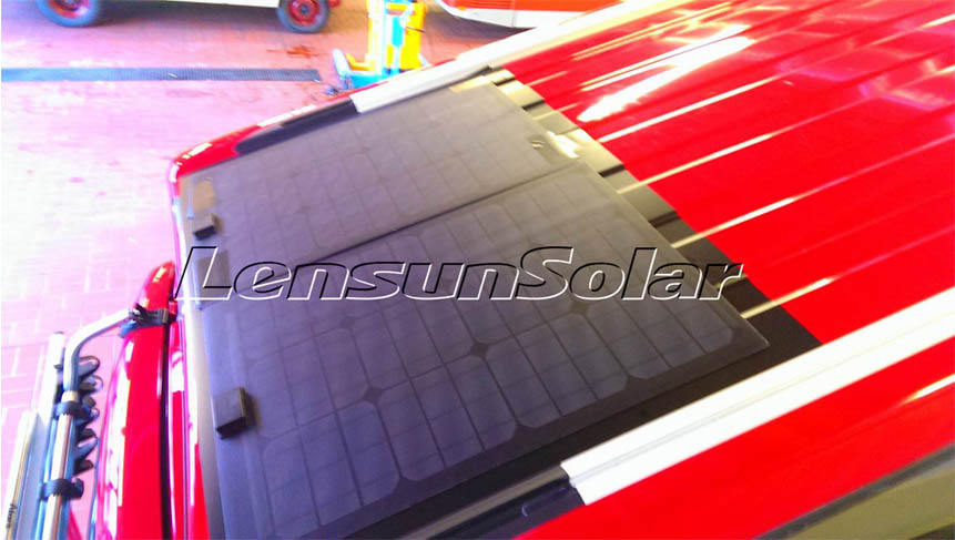 lensun-50w-black-flexible-solar-panel-install-on-Red-VW T5