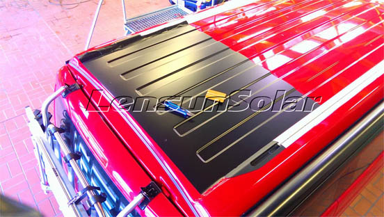 lensun-50w-black-flexible-solar-panel-install-on-Red-VW-T5