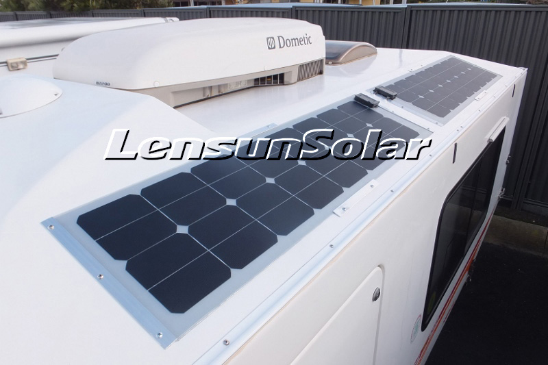 flexible-solar-panel-Lensun-50W-18V-back-contact-solar-cells-22% high-efficiency-for-Kimberley-Karavan-for-camping-van-motorhome