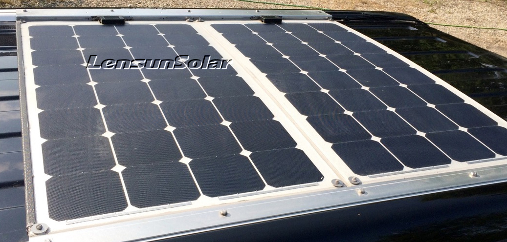 Lensun-aluminium-ETFE-flexible-solar-panel-on-caravan-motorhome-trial-rv-car-VW-T4-T5
