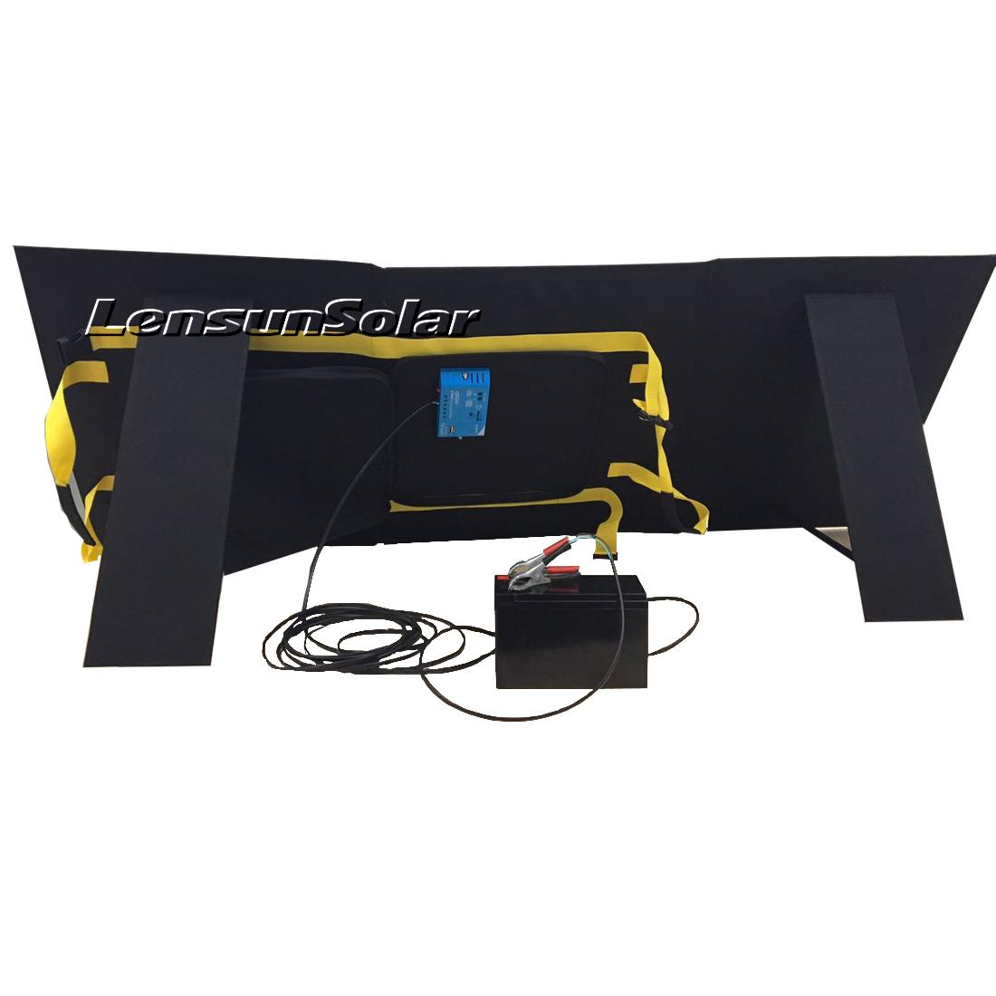 Lensun 100w Solar Charge Power Kit Foldable Portable Flexible Solar Panel For Camping Van