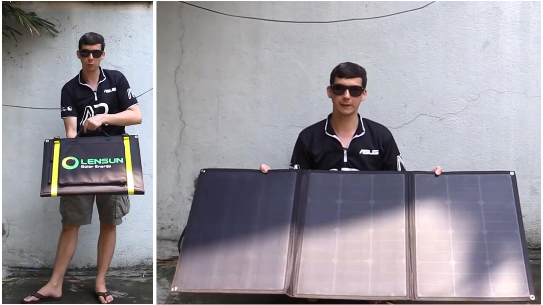 Review-for-Lensun-ETFE-100W-folding-portable-solar-panel-adjustable-support-leg