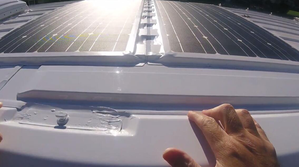 How To Install Flexible Solar Panel On Rv Camper Bus Trailer Car Wiring A Roof With No Holes Helpful Installing Reivew Of 2pcs Lensun 100w