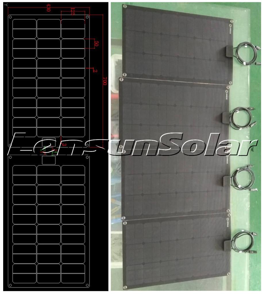 lensun-40w-black-fiberglass-ETFE-solar-panel-power