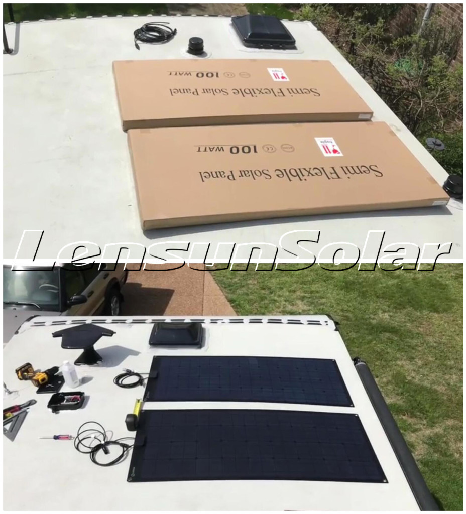 Installing-Lensun-400W-flexible-ETFE-solar-power-system-on-camper-trailer-motorhome-off-grid-road
