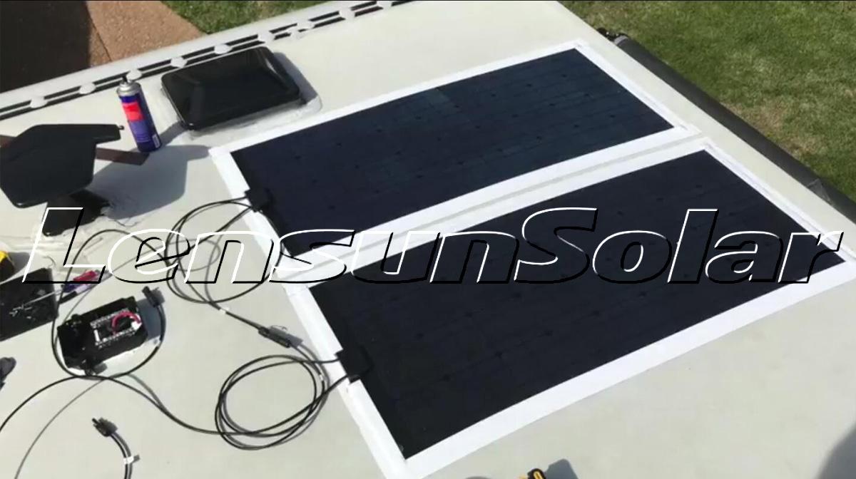 Lensun-100W-black-fiberglass-ETFE-solar-Panel-power