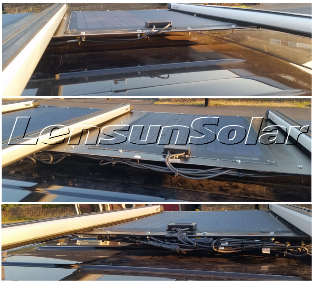 Lensun-50W-ETFE-Black-solar-panels-in-parallel-VW-T5-Caravelle-with-Thule-Slide-Bars-and-Fiamma-F45s-sun-canopy