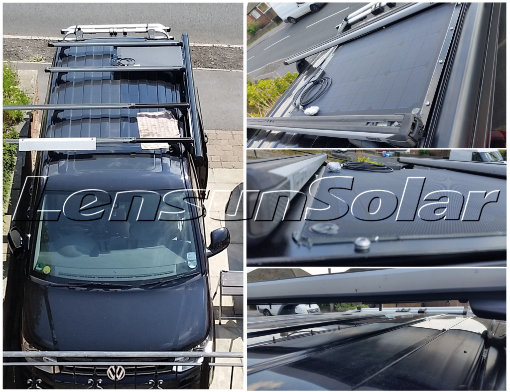 VW-T5-Caravelle-with-Thule-Slide-Bars-and-Fiamma-F45s-sun-canopy-Lensun-three-50W-total-150W-ETFE-solar-panel-charge-flexible-solar-power-black-fiberglass-back-sheet