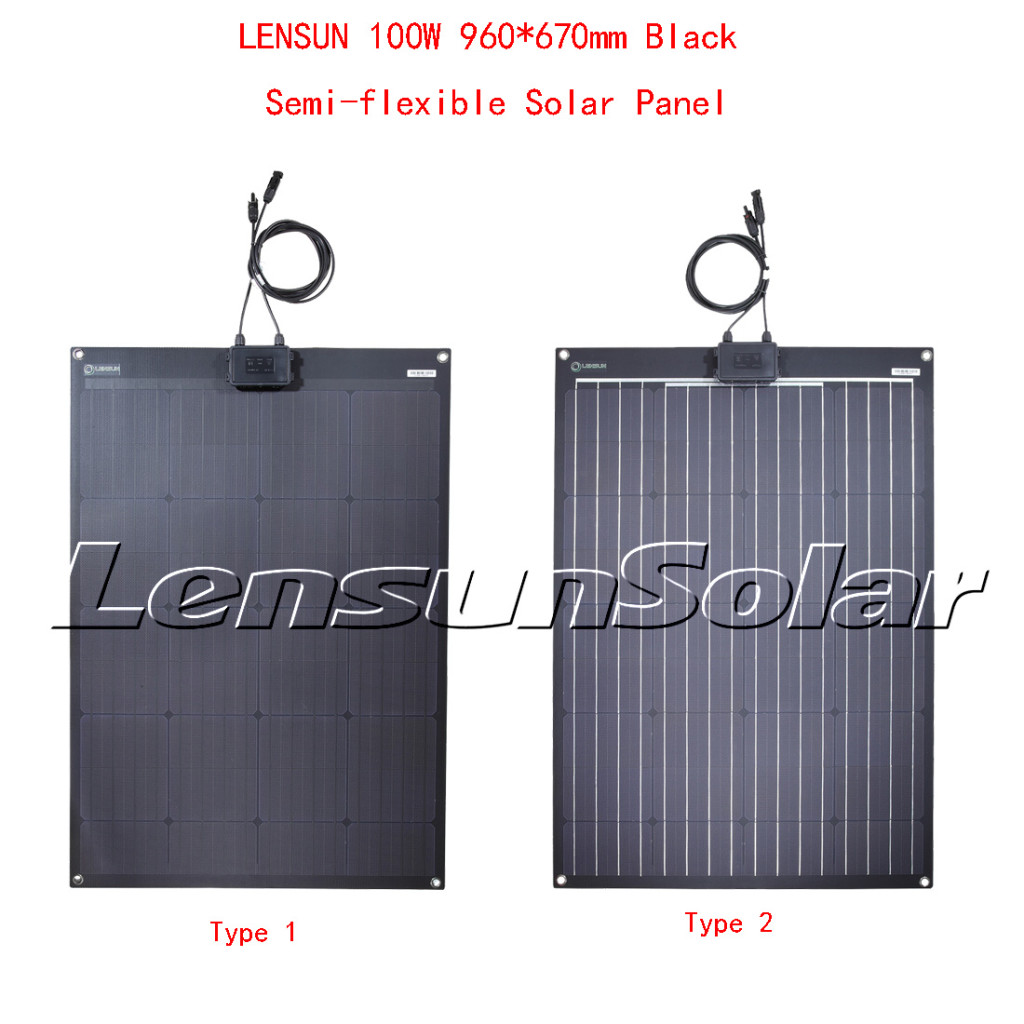 Lensun-100W-Black-flexible-solar-panels-for-camping-rvs-caravan-trailer-boats-yatches-ETFE-Solar-charge-solar-for-12V-battery-white-lines-full-black-fiberglass-back-sheet