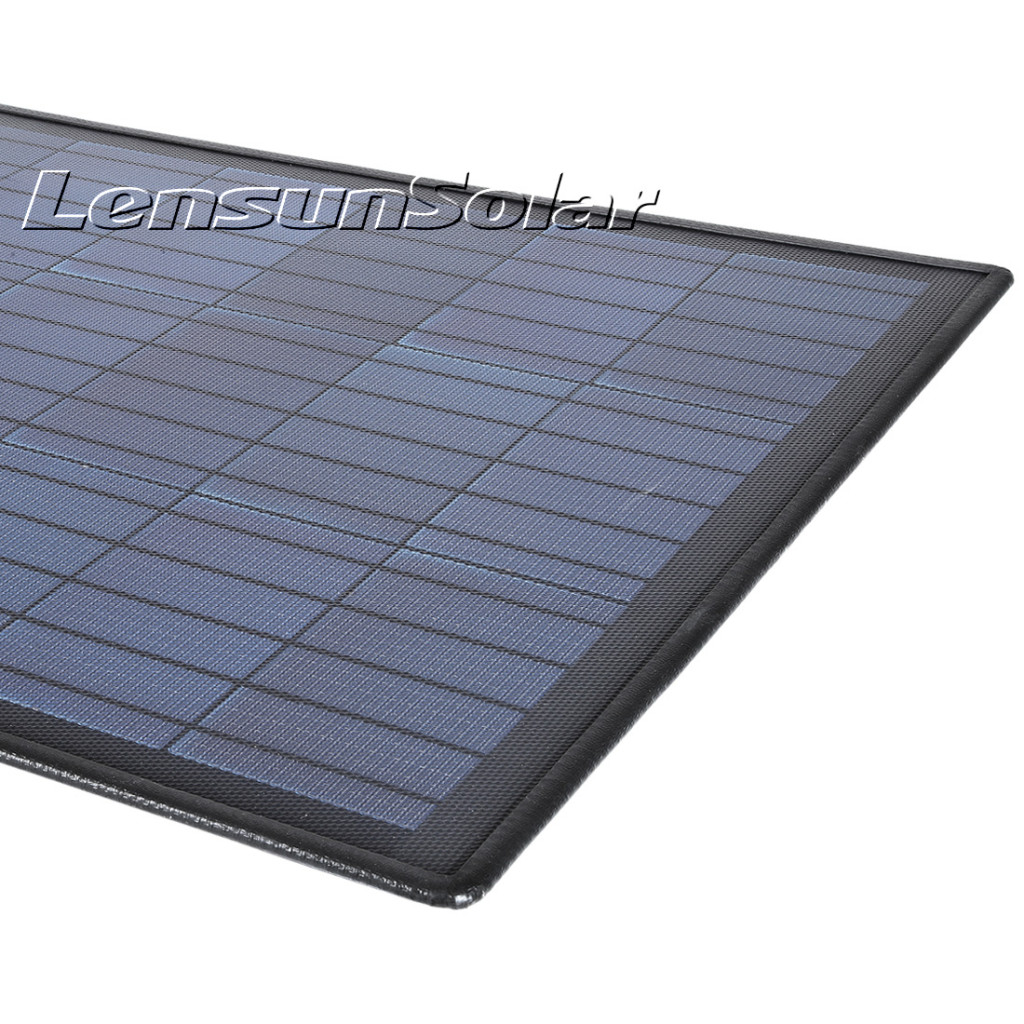 Lensun-100W-ETFE-black-flexible-solar-panels-with-rubber-strips-detail