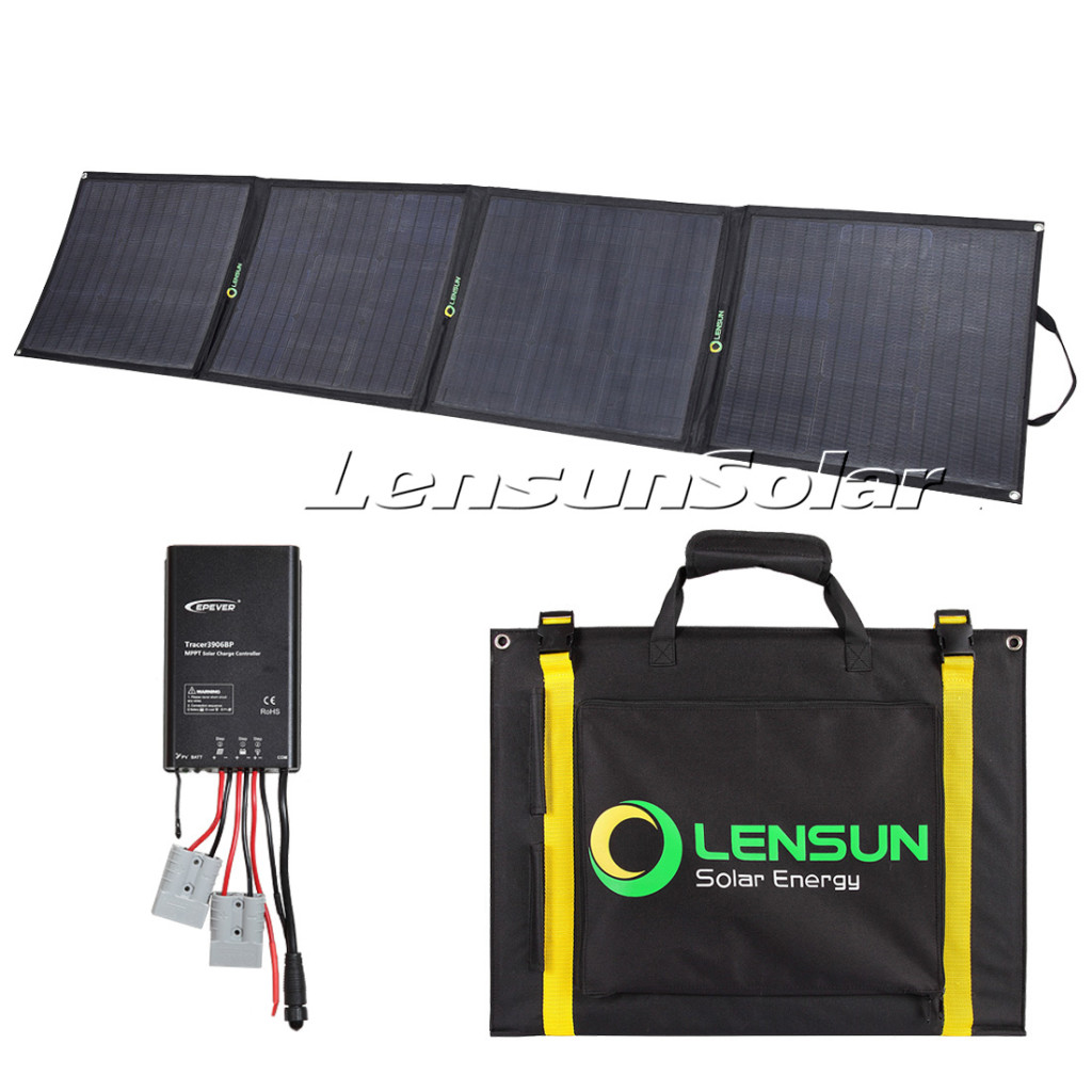 Lensun-200W-fodling-ultralight-solar-panel-kit-with-20A-MPPT-solar-charger-controller-battery-clip-cables-anderson-plug-for-camping-hiking-travelling-outdoof-activities