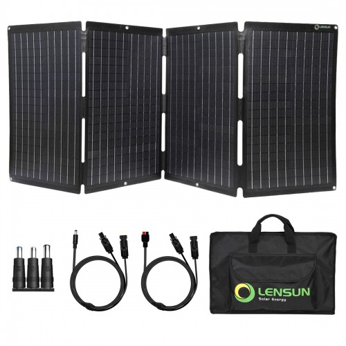 Lensun 120W 12V Foldable Solar Panel Charger, Completely Waterproof LETFE Laminated, Charge for Power Station, Solar Generator, Boats Campers RVs Battery