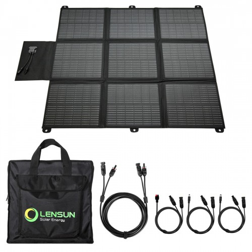 Lensun 200W 12V Portable Solar Panel Blanket with MC4 Connectors for Solar Generator Power Station, Lightweight Ultra-Thin only 5.2 kgs/11.4 lbs