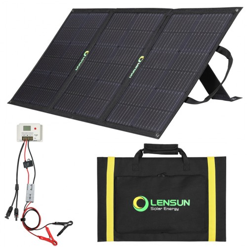Lensun 100W 12V ETFE Foldable Solar Panel Kit, with 10A Controller for Battery & Solar Generator Power Station Charge
