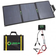 Lensun 100W 12V Foldable Solar Panel kit with Waterproof Solar Controller, Battery Clips Ready to Charge Battery for Camping, RVs, Boats