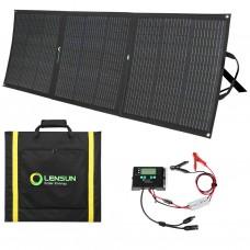 Lensun 160W 12V Flexible Folding Solar Panel Kit Waterproof Solar Controller, Battery Clips, Ready to charge battery, solar power station generator