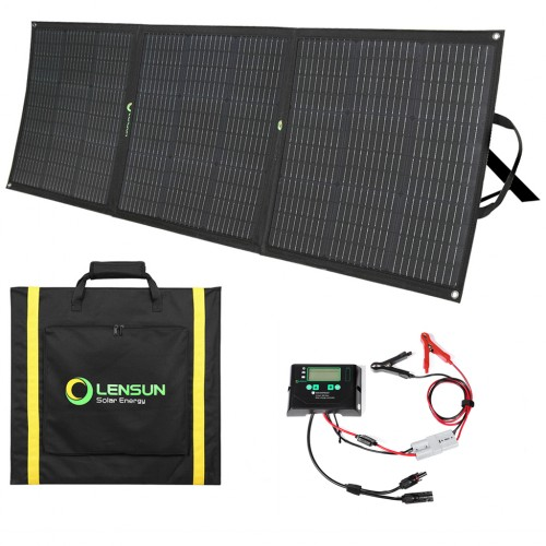 Lensun 160W 12V Foldable Solar Panel Kit Waterproof Solar Controller, Battery Clips, Ready to charge battery & solar power station generator