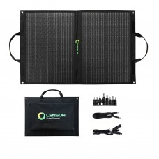 Lensun 70W Foldable Solar Panel Charger with Kickstand, USB 5V QC 3.0 Type C DC18V for Power Station Solar Generator, Cell Phone Tablet Laptop and more
