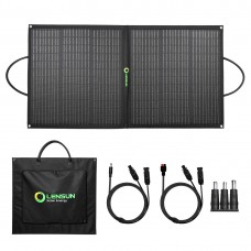 Lensun 110W Foldable Solar Panel Charger with Kickstand, MC4 connector, USB, QC 3.0, Type C for Power Station Solar Generator, RV, Boat