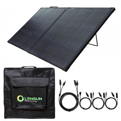 Lensun Innovative 110W 12V Foldable Solar Panel Suitcase Built-in Kickstand, 16ft extend cable, Lightweight, Waterproof, Super Thin, for Solar Generator Power Station RV Camper 12V Battery Charging