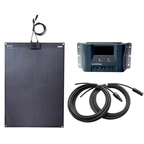 Lensun 100W 12V Black Flexible Solar Panel MPPT Charge Kit, 10A MPPT Solar Controller and 5m cables