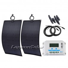 160W(2X80W) Black Flexible Solar Panel Full Kit, 20A PWM LCD Controller, 5M Cables, Ready to Charge Battery for Camping