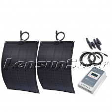 2pcs 55W(total 110W) Black Flexible Solar Panel Full Kit, 10A MPPT Controller,5m Cables, Perfect for RV,Camper,Bus,Boat,Yachts