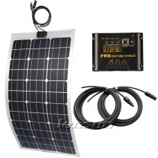 Lensun® 75W Flexible Solar Panel charge kit for boats,yacht,motorhome, 10A regulator, 5m cables