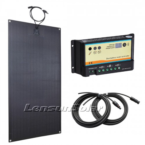 Lensun 100W 12V Black Flexible Solar Panel Charge Kit, Dual Battery 10A Solar Controller could connect two batteries, 5m cables
