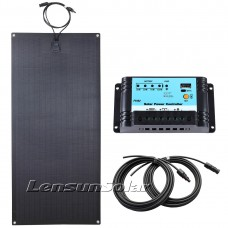 Lensun® 100W 12V ETFE Black Flexible Solar Panel Charge Kit, 10A Regulator, Cables Ready to use!
