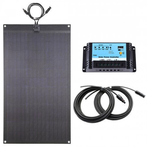 Lensun® 80W Black Flexible Solar Panel Full Kit, with 10A Regulator and 5m cable, Ready to Charge Battery