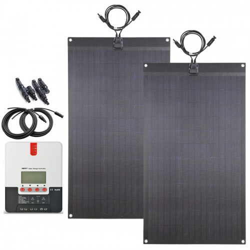Lensun 160W(2X80W) Black Flexible Solar Panel Full Kit, 20A MPPT LCD Controller, 5M Cables, Ready to Charge Battery for Camping