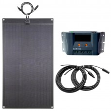 Lensun®  80W 12V Black Flexible Solar Panel Battery Charge Kit, with 10A MPPT LCD Solar Controller, 5m Cable