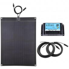 Lensun® 60W 12V ETFE Black Flexible Solar Panel charge kit for RV, Boats, Camping, include 10A regulator, 5m cables