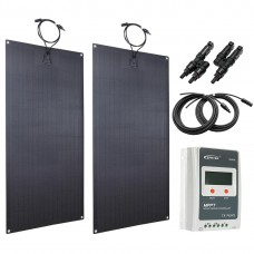 Lensun 200W(2x100W) Flexible Solar Panel MPPT Charge Kit, 20A MPPT Solar Controller and 5m cables