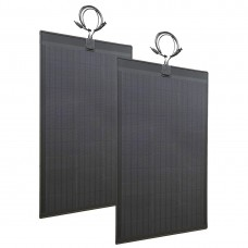Lensun®  2pcs 80W(total 160W) 12V ETFE Black Flexible Solar Panel with Rubber Strip to Protect the Edge